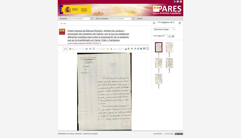 Diferentes medidas para evitar propagación epidemias en la España de 1810 presentes en el Portal de Archivos Españoles PARES