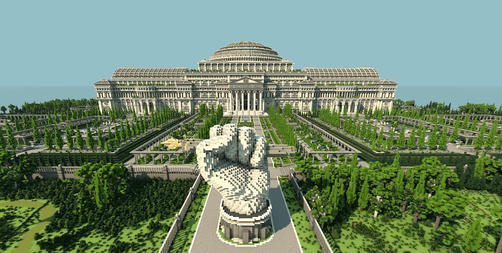 Edificio neoclásico de la biblioteca sin censura Minecraft The Uncensored Library