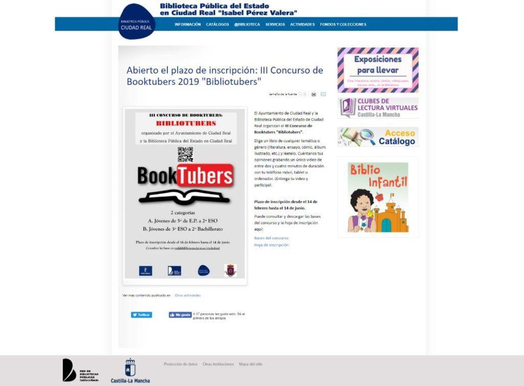 """Abierto el plazo de inscripción: III Concurso de Booktubers 2019 """"Bibliotubers"""""""