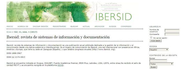 Ibersid revista de sistemas de información y documentación