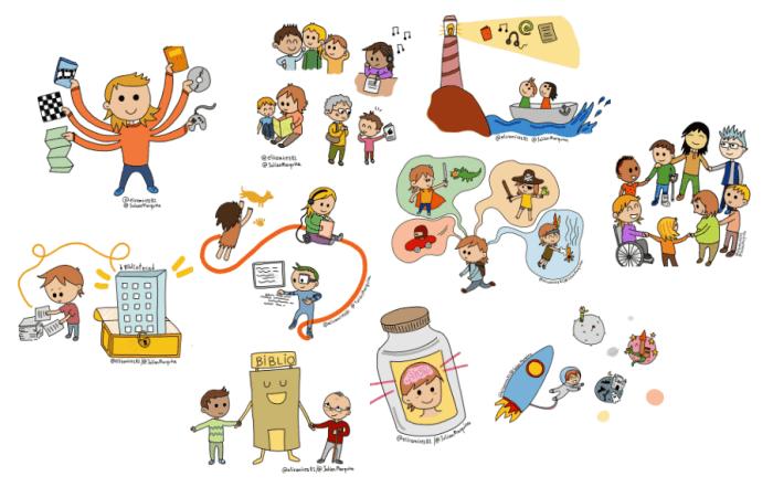 Ilustraciones para explicar a un joven la importancia de la biblioteca