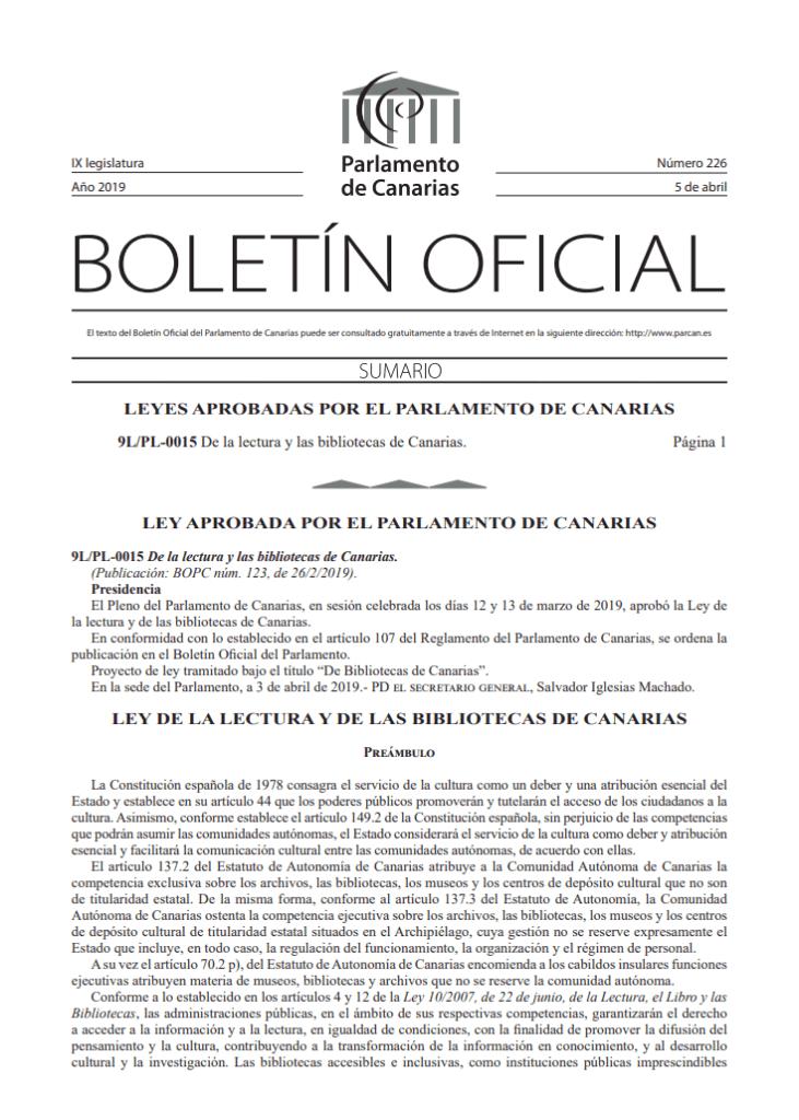 Ley de lectura y las bibliotecas de Canarias