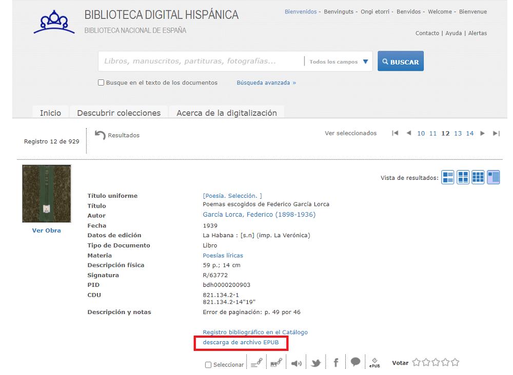 Libro formato ePub descarga Biblioteca Nacional de España