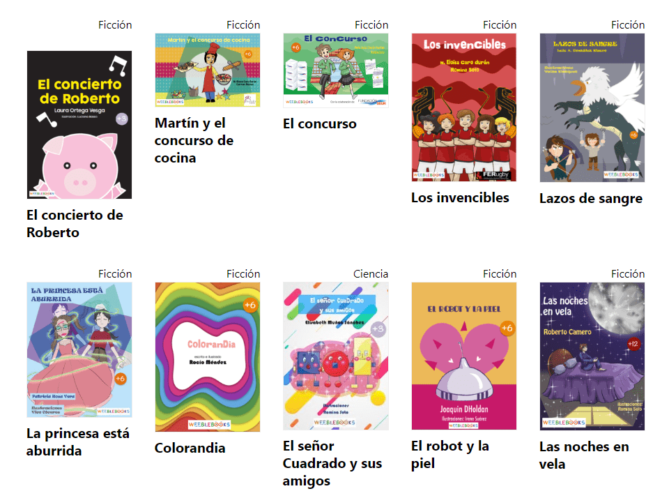 Libros infantiles de ficción de WeebleBooks