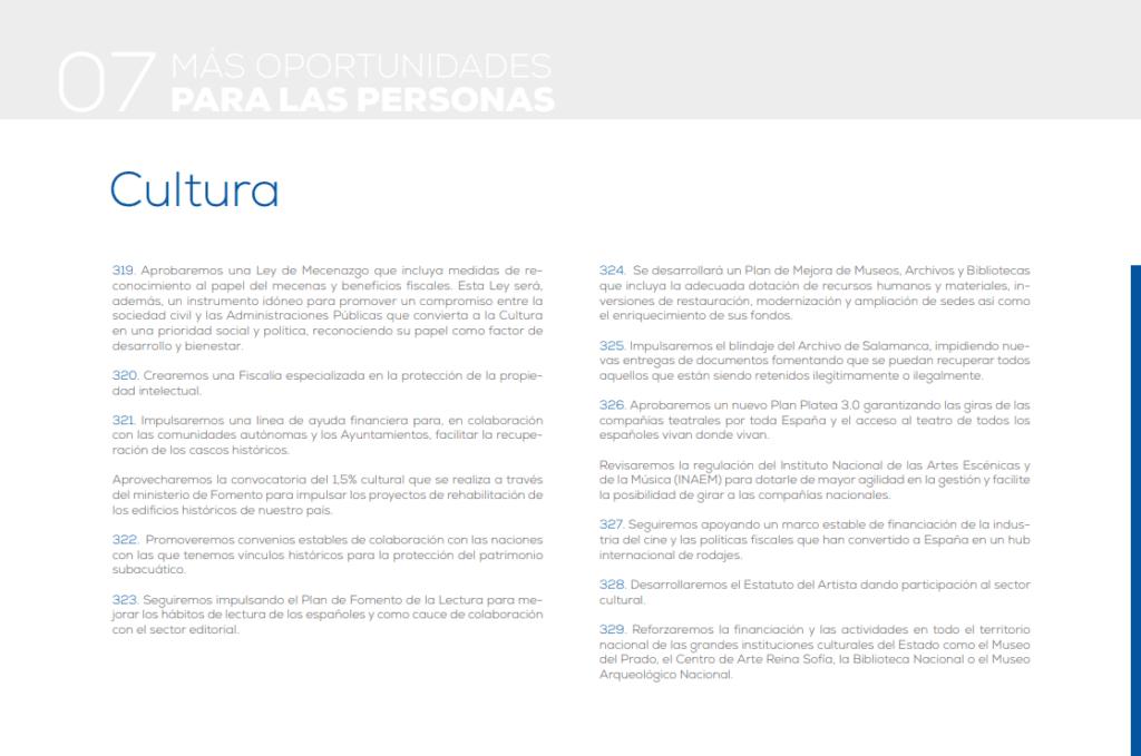 Más oportunidades para las personas. Partido Popular. Cultura - Programa electoral 2019