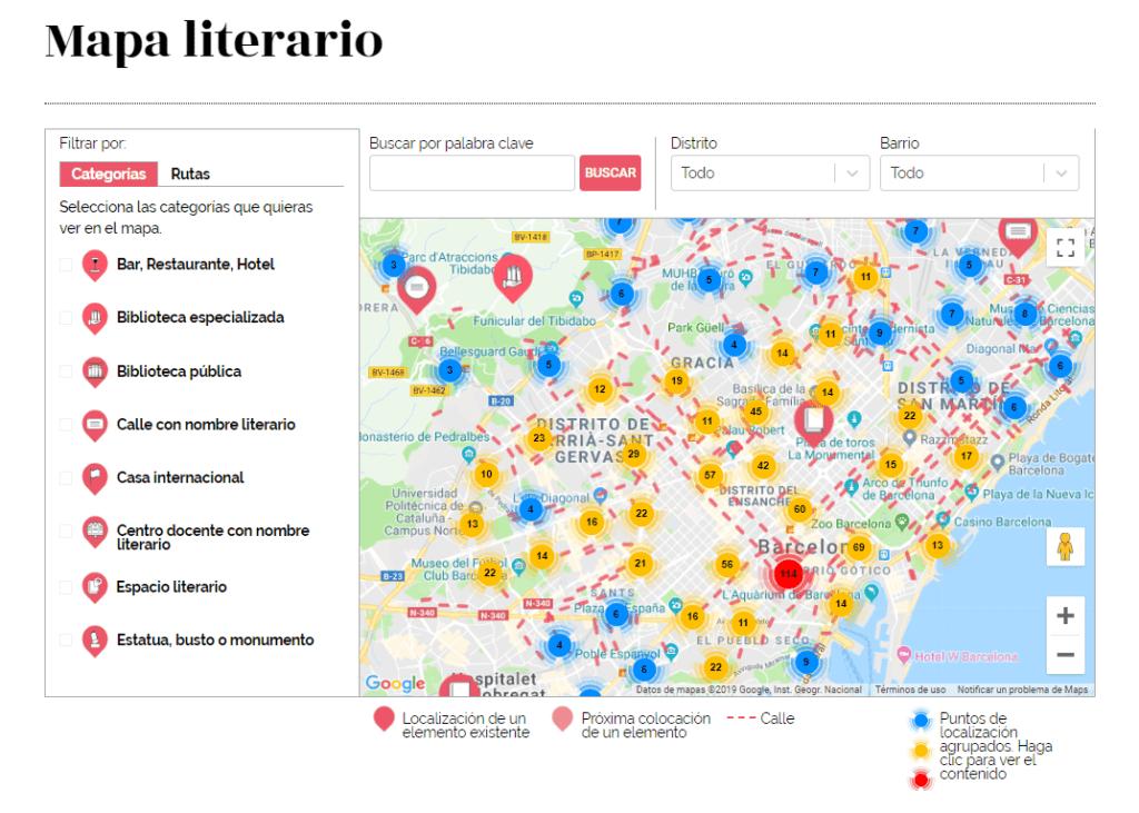 Mapa literario de Barcelona