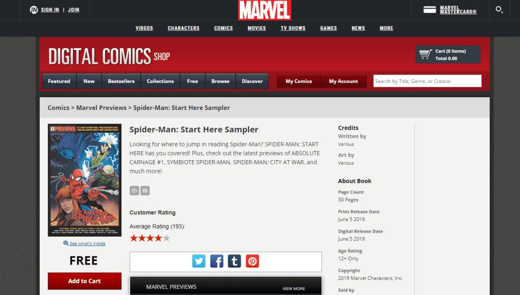 Marvel Digital Comics Shop