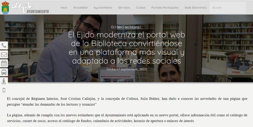 Noticia publicada en la página del Ayuntamiento de El Ejido