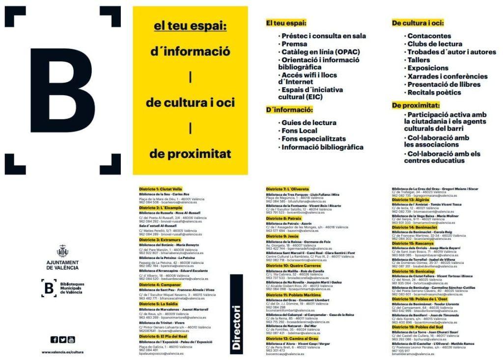 Nuevo folleto de la Red de Bibliotecas Municipales de Valencia