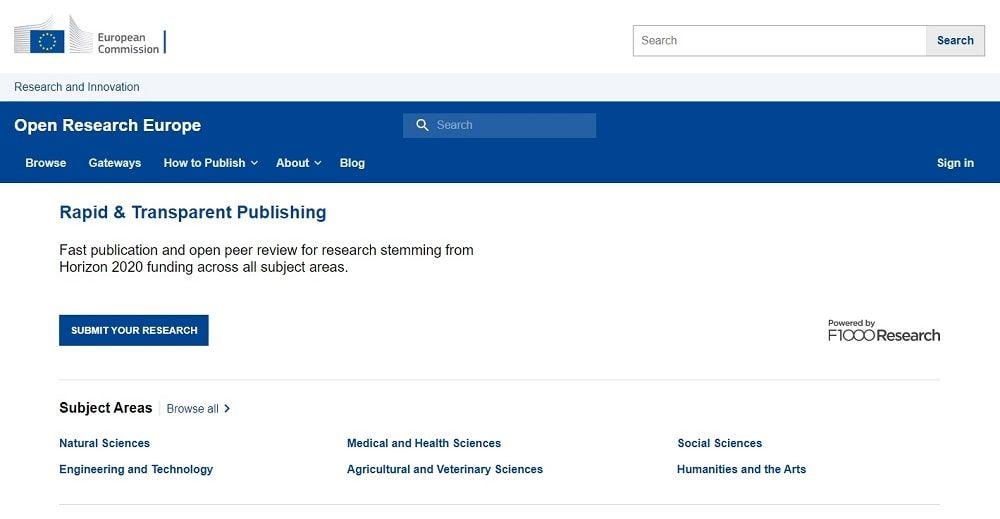 Open Research Europe plataforma publicación investigación acceso abierto