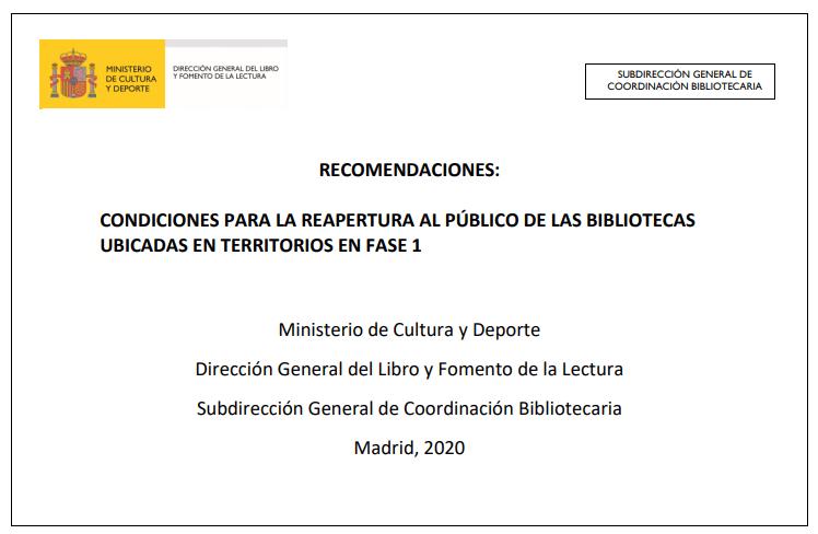 Recomendaciones: Condiciones para la reapertura al público de las bibliotecas ubicadas en territorios en Fase 1