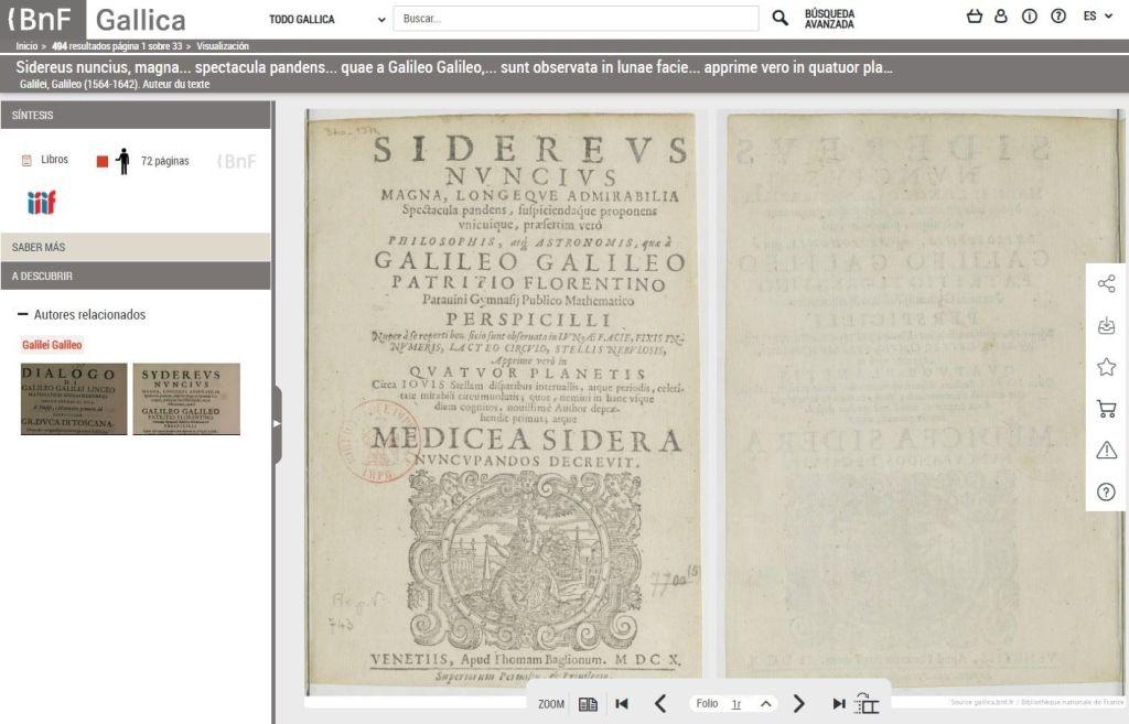 Sidereus Nuncius Magna BnF biblioteca digital Gallica