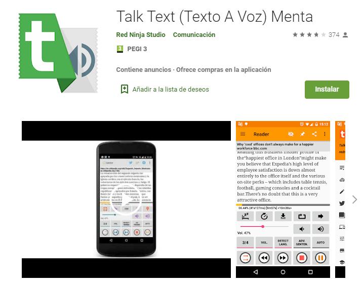 Talk Text (Texto A Voz) Menta