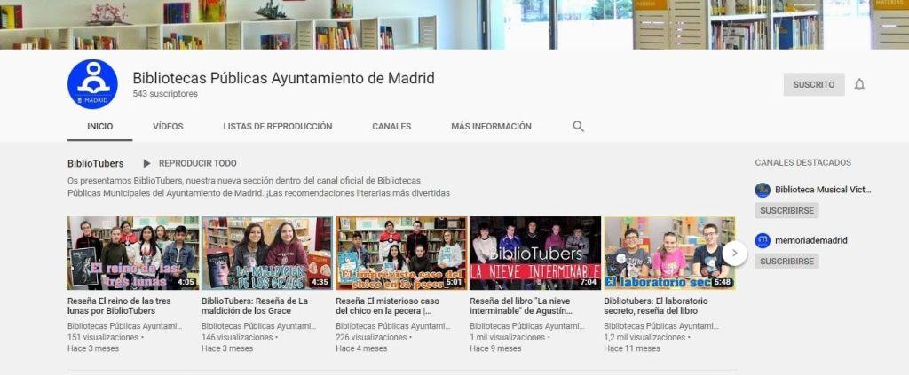 YouTube Bibliotecas Públicas Ayuntamiento de Madrid. BiblioTubers