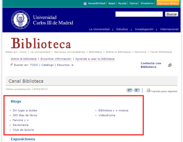 Blogs de la Biblioteca de la Universidad Carlos III de Madrid