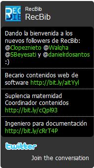 Widget twitter RecBib
