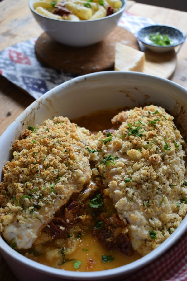 Mozzarella and Tomato Stuffed Chicken in a serving dish