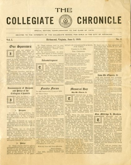 Collegiate Chronicle - Vol. 1 No. 1 - Front Page - June 5, 1919
