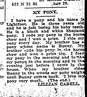 """My Pony"" by Lillian Cabell, Richmond Times-Dispatch, November 24, 1924"