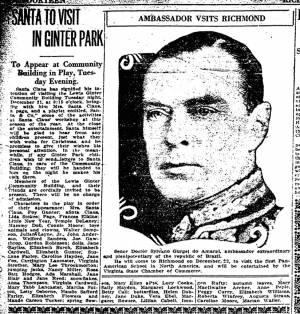 """Santa To Visit Ginter Park,"" Richmond Times-Dispatch, December 19, 1926"