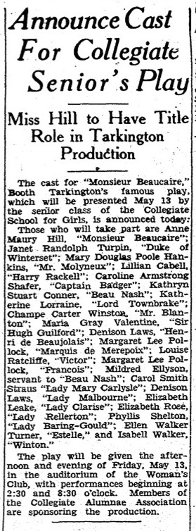 """Announce Cast For Collegiate Senior's Play,"" Richmond Times-Dispatch, April 24, 1932"