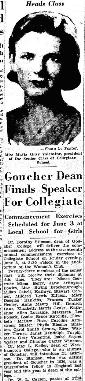"""""""Goucher Dean Finals Speaker For Collegiate,"""" Richmond Times-Dispatch, May 19, 1932"""