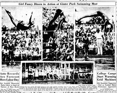 """Girl Fancy Divers In Action At Ginter Park Swimming Meet,"" Richmond Times Dispatch, September 4, 1932"