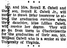 Notice of Lillian Cabell's graduation from Sweet Briar College, Richmond Times-Dispatch, June 1, 1936
