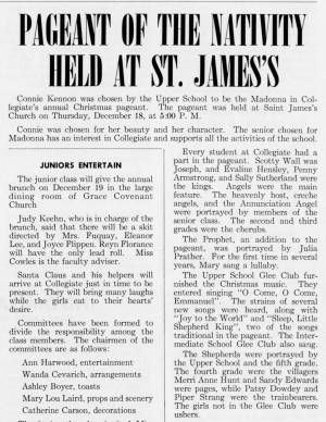 """Pageant of the Nativity Held at St. James's"" in The Match, December 1958"