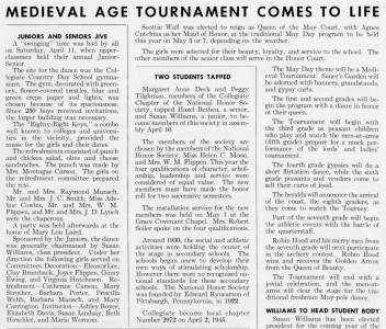 """Medieval Age Tournament Comes To Life"" from The Match, April 1959"