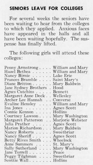 """Seniors Leave For Colleges"" in The Match, May 1959"
