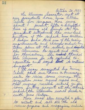 Book Of Secretary, Collegiate School Alumnae Association, 1924 To 1940