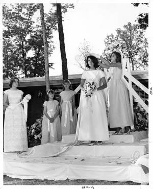 Fleet Gregory is crowned May Queen by Maid of Honor Beverly Brockenbrough, 1965