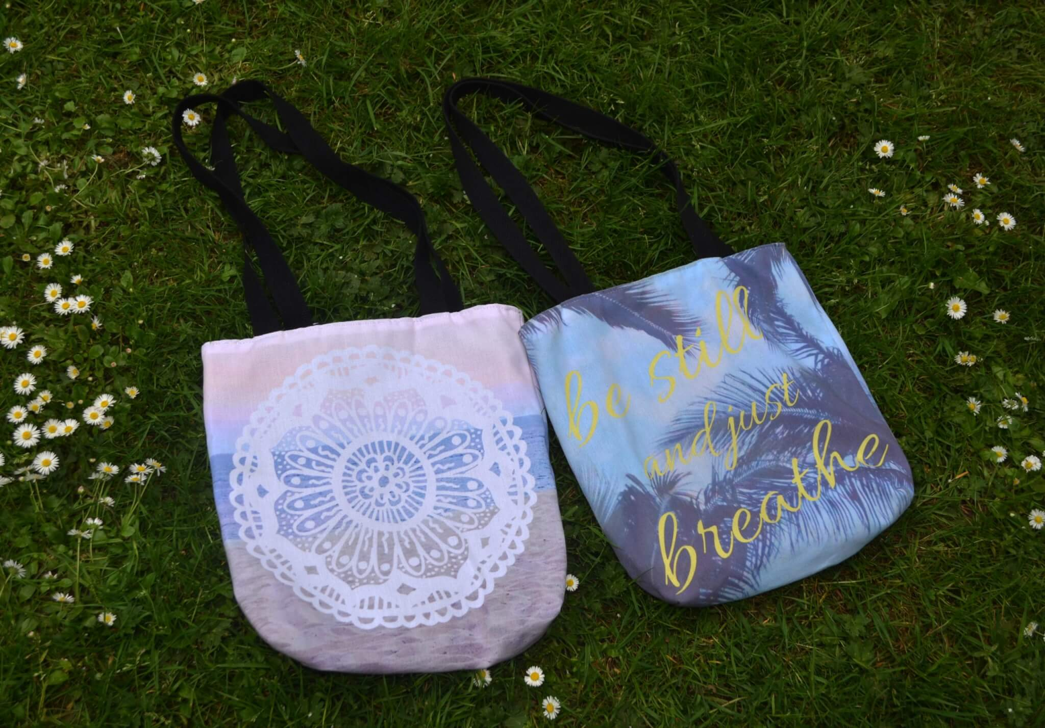 mandala and yoga tote bag