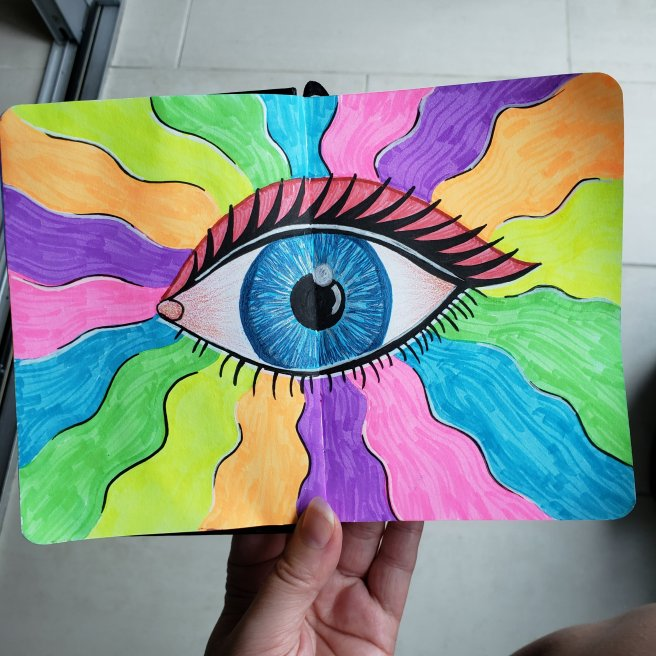 psyechedelic trippy rainbow eye art journal page
