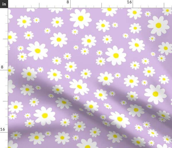 purple rose daisy pattern fabric