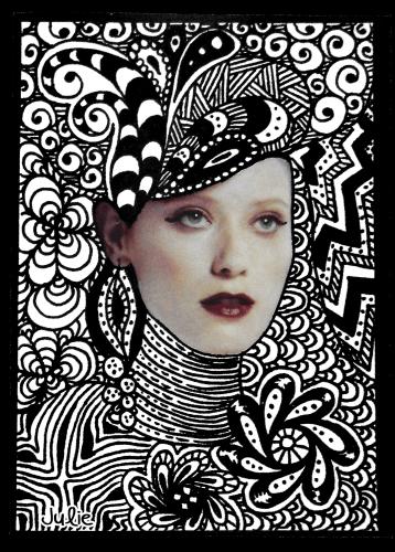 aceo art card zendoodle face