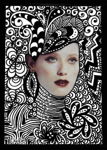 aceo art card zendoodle face