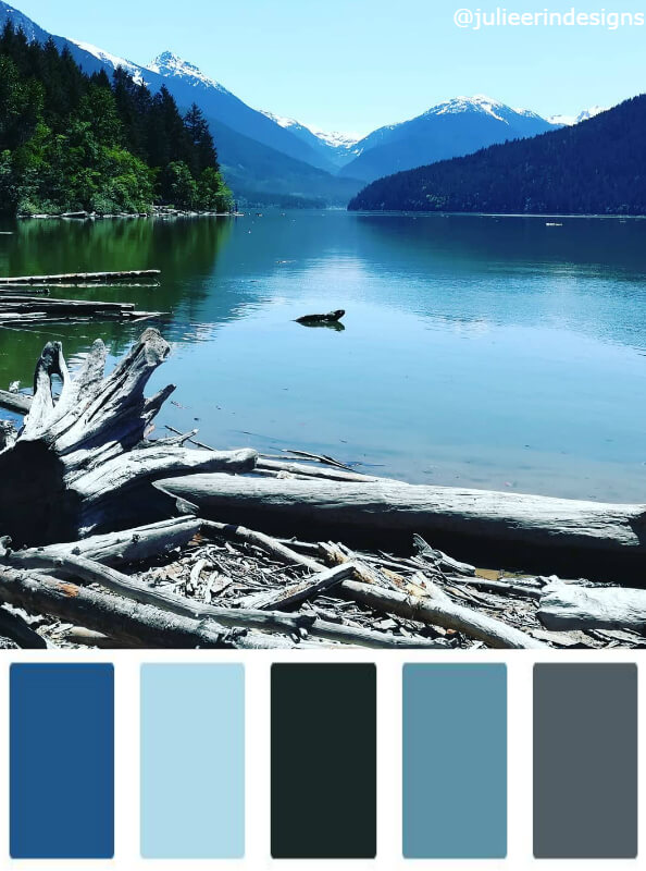 Color swatches from a lake in British Columbia Canada