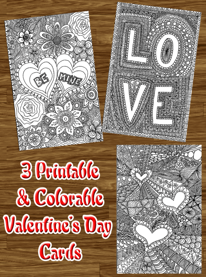 valentine's day cards to color
