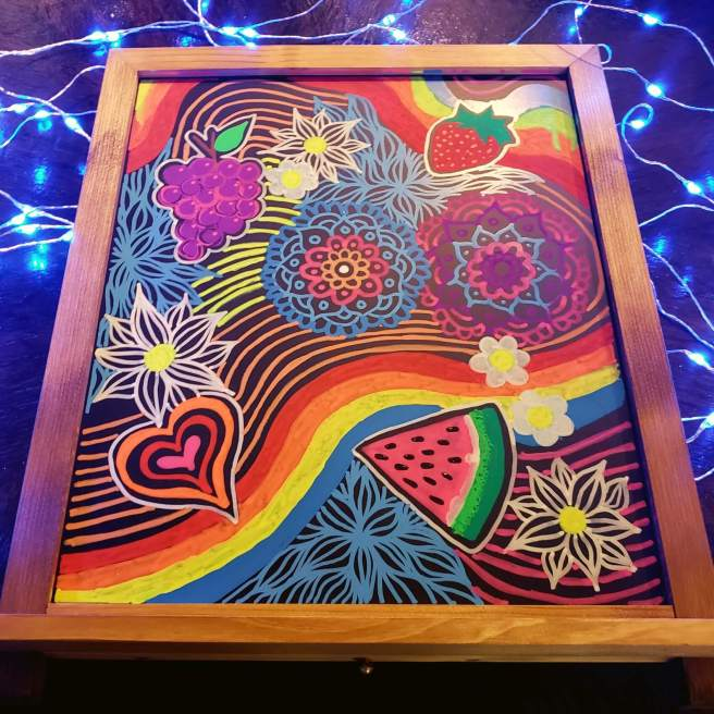 psychedelic rainbow doodles chalk markers