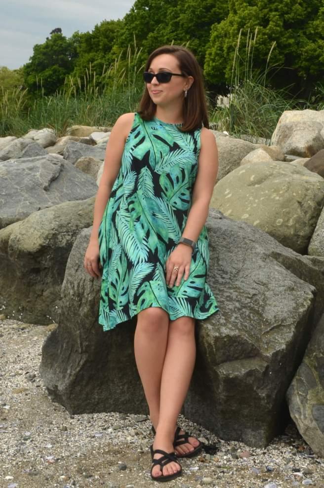 tropical monstera pattern fashion redbubble a-line dress review