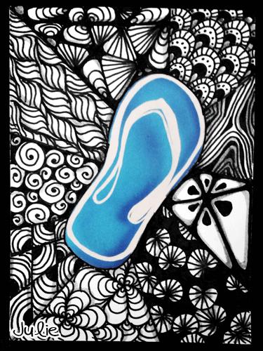 flip flop doodle art aceo card