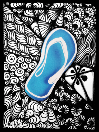 flip flop zentangle drawing