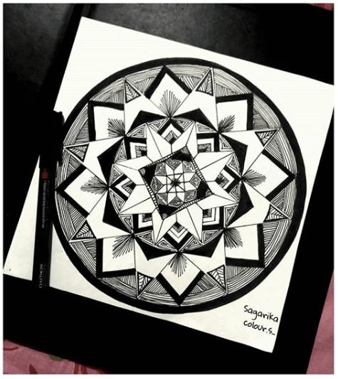 geometric black and white mandala
