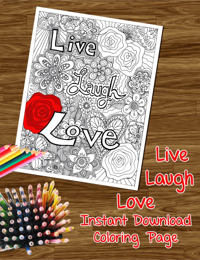 live laugh love coloring page