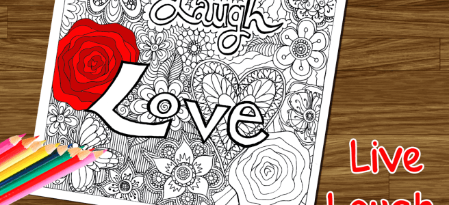 live laugh love coloring page