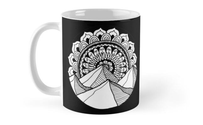 mountain mandala drawing mug