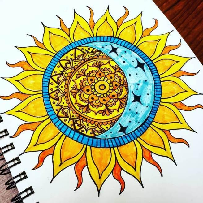 sun and moon mandala mandalatober 2019