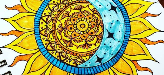 sun and moon mandala mandalatober 2019
